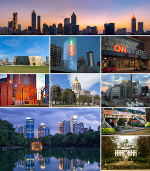 alt = Atlanta montage. Clicking on an image in the picture causes the browser to load the appropriate article.