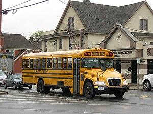 Atlantic Express (bus company) - An Atlantic Express school bus operates through Oceanside, New York.