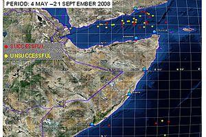 US-Karte der Angriffe auf Schiffe im Golf von Aden von Mai bis September 2008