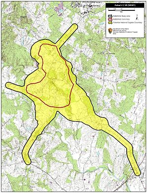 Second Battle of Auburn - Map of Auburn II Battlefield core and study areas by the American Battlefield Protection Program.