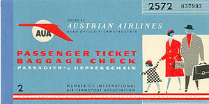 Airline ticket - A ticket cover from Austrian Airlines, circa 1960s