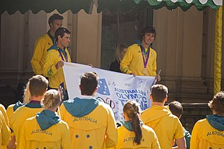 Unveiling of autographed Australian Olympic Team flag.