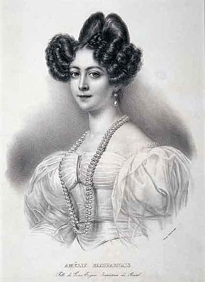 Amélie of Leuchtenberg - Engraving of Amélie of Leuchtenberg Jean-Baptiste Aubry-Lecomte, after a painting by an unknown artist
