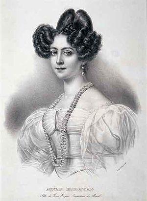 Amélie of Leuchtenberg - Engraving of Amélie of Leuchtenberg Jean-Baptiste Aubry-Lecomte, after a painting by an unknown artist
