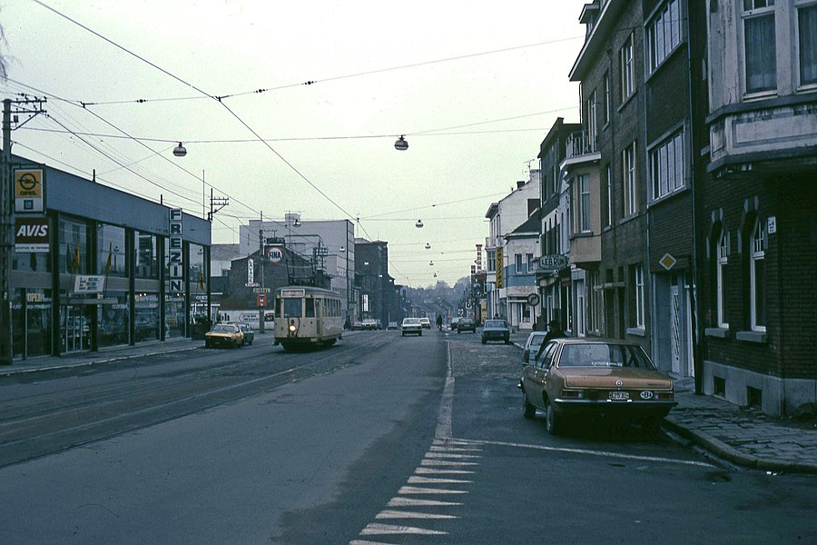 Typical SNCV tram in the evening on the Charleroi network in 1980 in rue Gustave Boël in La Louvière.