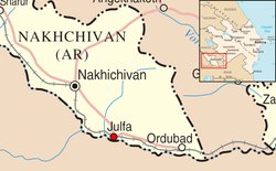 Julfa is located close to the Iranian border in the Nakhchivan Autonomous Republic of Azerbaijan.