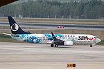 B-5787 - Shandong Airlines - Boeing 737-85N(WL) - Expo 2014 Qingdao (1st) Livery - PEK (14169142444).jpg