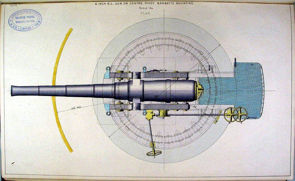 File:BL 6 inch Armstrong gun on CP mounting plan diagram.jpg ...