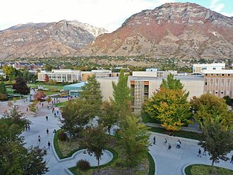 Brigham Young University - BYU campus with Y mountain and Squaw Peak in the background