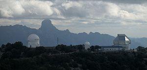 Baboquivari Peak Wilderness - Baboquivari Peak with part of Kitt Peak National Observatory in the foreground.