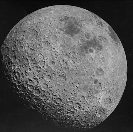 "The far side of the Moon is sometimes called the ""dark side"" of the Moon, as most of it is not visible from Earth due to tidal locking Back side of the Moon AS16-3021.jpg"