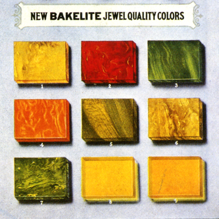 "Color chart for Bakelite ""jewel"" quality colors (cast resin or ""Clear Material""), 1924 Bakelite color chart 1924 Gifts to Treasure Embed Art Company Jewel only.tif"