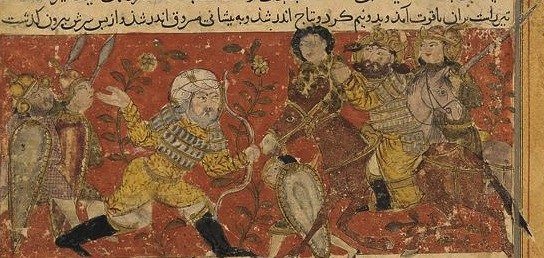Balami - Tarikhnama - The arrow of old Wahraz kills Masruq, the Ethiopian King of Yemen (cropped)