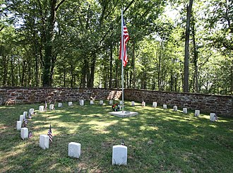 Ball's Bluff Battlefield and National Cemetery - The circle of 25 graves at Ball's Bluff