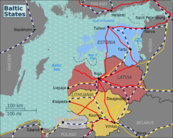 Baltic states regions map