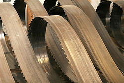 Large resaw blades used in a sawmill.