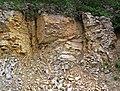 Baraboo Quartzite (upper Paleoproterozoic, ~1.7 Ga; Rt. 12 roadcut, South Range, Baraboo Ranges, Wisconsin, USA) 3 (18810895811).jpg