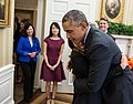 Barack Obama hugs Nina Pham, a Dallas nurse who survived Ebola, 2014.jpg