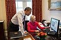 Barack Obama watches David Axelrod shaving.jpg