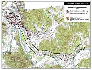 Battle of Barbourville - Map of Barbourville Battlefield core and study areas by the American Battlefield Protection Program.