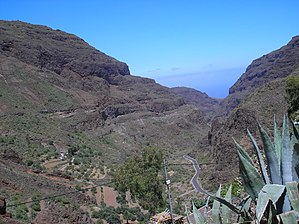 Guayadeque ravine - The valley, view towards the S-E and the sea