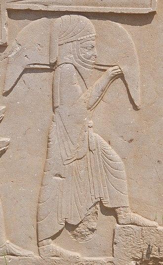 Waterskin - Image: Bas Relief of Tribute Bearer, Persepolis, Iran (4693775791)