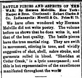 Battle-Pieces and Aspects of the War - Contemporary review in the Indianapolis Daily Journal