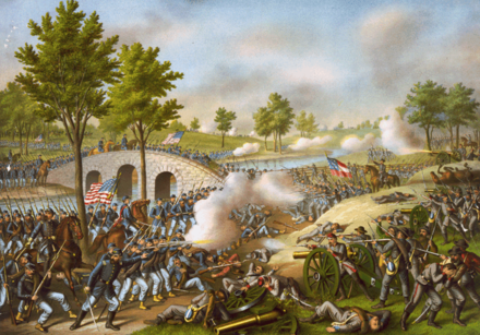 The Battle of Antietam was the single bloodiest day of the Civil War with nearly 23,000 casualties. Battle of Antietam.png