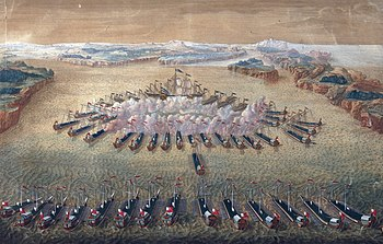 The sea battle at Hanko on August 7, 1714