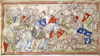 The Battle of Stamford Bridge depicted in the 13th century Vita Eduards the Confessor
