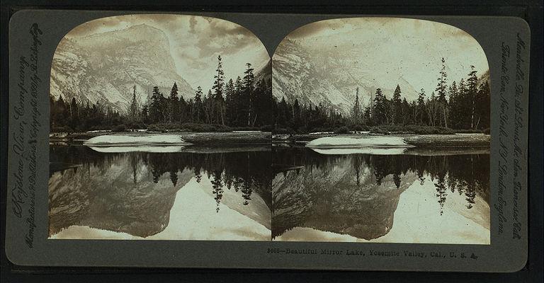 Beautiful Mirror Lake, Yosemite Valley, Cal. U.S.A, by Singley, B. L. (Benjamin Lloyd) 2.jpg