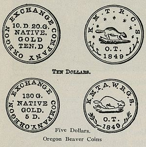 Oregon City, Oregon - Image: Beaver Coins