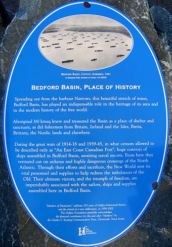 A historical plaque at the Bedford Basin in Halifax, Nova Scotia, Canada, a major convoy collection area. Bedford Basin Plaque.jpg