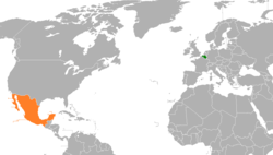 Map indicating locations of Belgium and Mexico
