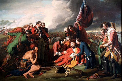 Johnson, in green, is depicted in Benjamin West's iconic painting The Death of General Wolfe, although he was not present at the event. Benjamin West 005.jpg