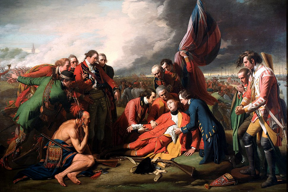 """Benjamin West's """"The Death of General Wolfe"""" dying in front of British flag while attended by officers and native allies"""