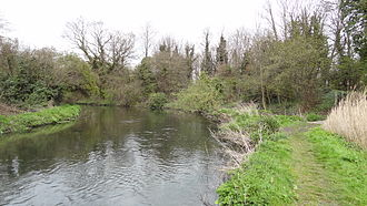 Bennett's Hole - The River Wandle with Bennett's Hole on the right