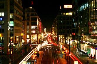Friedrichstraße - View towards Friedrichstraße at night
