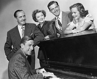 The Best Years of Our Lives - Standing, L-R: Fredric March, Myrna Loy, Dana Andrews, Teresa Wright; seated at piano: Hoagy Carmichael