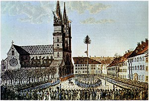 French invasion of Switzerland - Liberty tree erected in Basel. This act was repeated in other Swiss places to symbolise revolution and liberation.