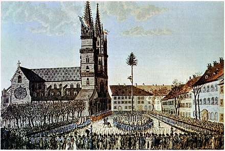 Liberty tree erected in Basel. This act was repeated in other Swiss places to symbolise revolution and liberation. Bild Freiheitsbaum Basel.jpg
