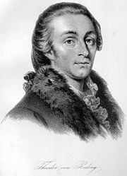 Black and white print of a man with a cleft chin, large round eyes and carefully combed hair. He wears a coat with a fur collar and a frilled white shirt which shows at his throat.
