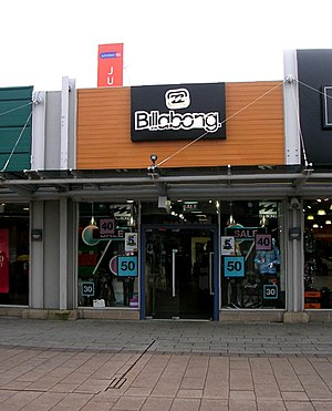 Billabong (clothing) - A store in Glasshoughton, West Yorkshire, England.