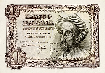 Don Quixote on a 1951 1 Peseta banknote.