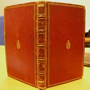 Garrick Collection - David Garrick's copy of Fulke Greville's Workes, showing the family arms on the binding.