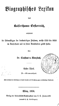 Biographisches Lexikon des Kaiserthums Oesterreich Band 1 Seite !01 (Titel).png