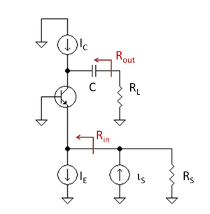 Buffer amplifier - Figure 6: Bipolar current follower biased by current source IE and with active load IC