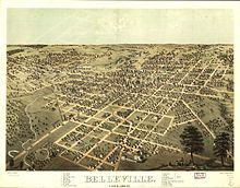 Bird's Eye View of Belleville, Illinois in 1867