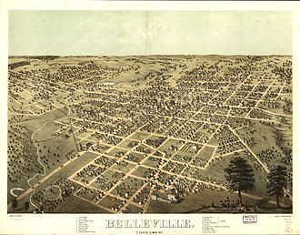 Belleville, Illinois - Bird's Eye View of Belleville, Illinois in 1867