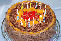 A decorated birthday cake.